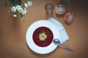 Soupe de betterave & raviolis