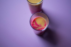 Smoothie bicolore {framboise pêche}